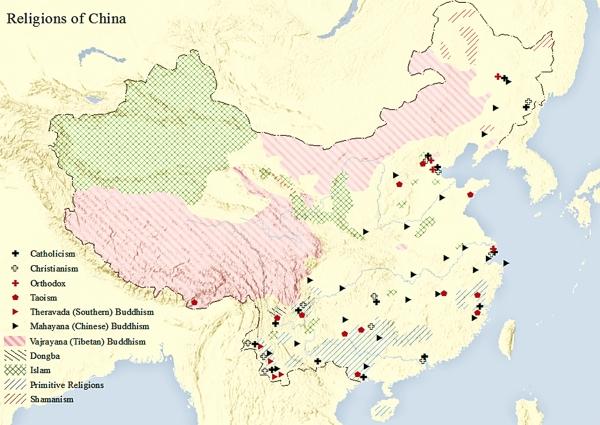 중국의 종교 분포