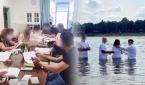난민들과의 성경공부와 침례식 모습.