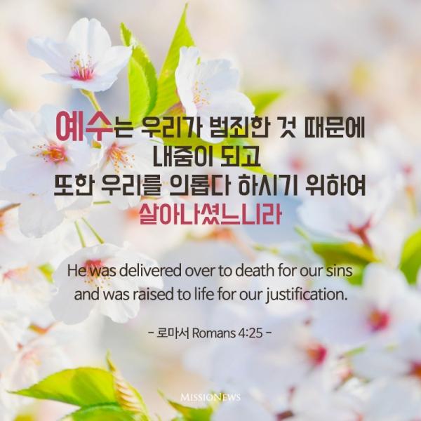 예수는 우리가 범죄한 것 때문에 내줌이 되고 또한 우리를 의롭다 하시기 위하여 살아나셨느니라(롬 4:25)
