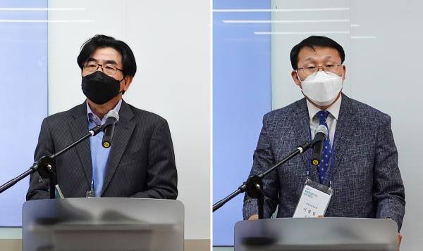 발표 1에 대해 주도홍 교수(좌), 이빌립 목사(우)가 지정토론을 하고 있다.