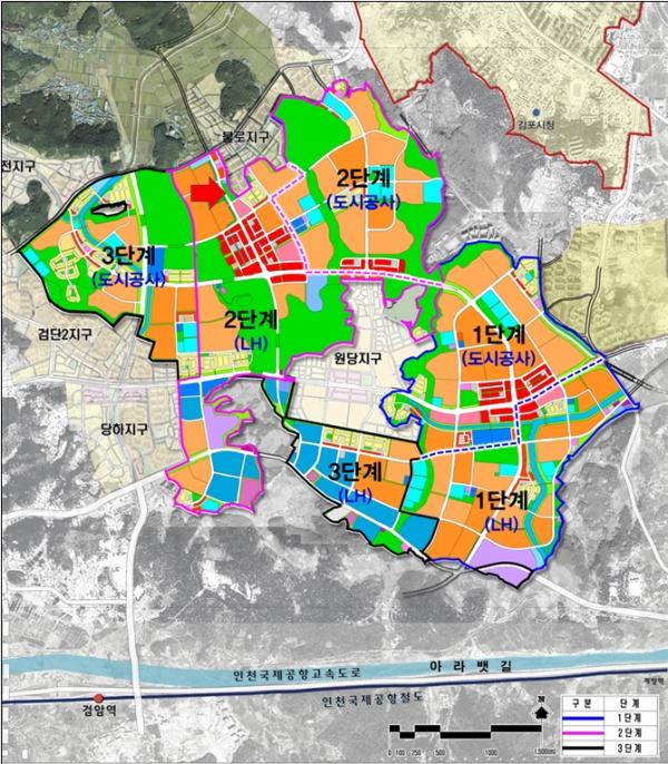 검단신도시 택지개발지구. 빨간 화살표 끝 연두색 영역이 비전성온교회가 사용해 온 토지.