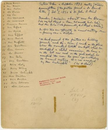 1893년 10월 미 북장로교회 선교사 사진 명단