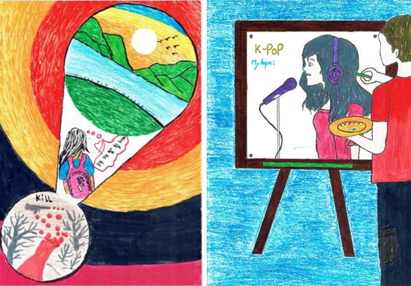 미얀마 아이들의 작품